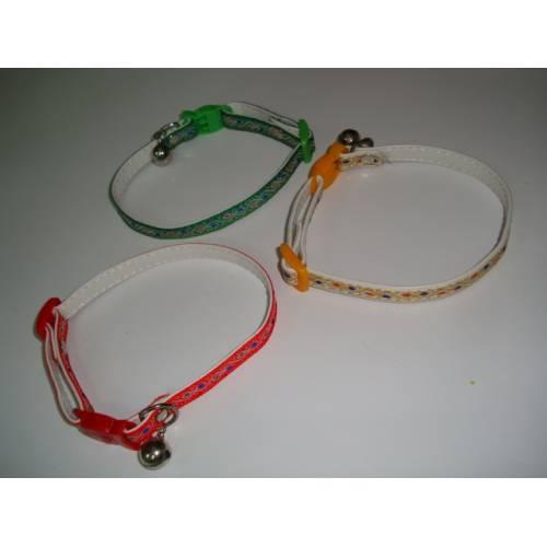 Нашийник от еко кожа с фолклорни мотиви в различни цветове за котка или малко куче - Различни цветове
